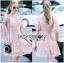 Lady Ribbon ขายส่งเสื้อผ้าออนไลน์พร้อมส่งของแท้ LR20220716 &#x1F380 Lady Ribbon's Made &#x1F380 Lady Anna Sweet Feminine Floral Pink Lace Dress เ thumbnail 1