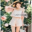 Lady Ribbon Pink Off-Shoulder Top and Shorts thumbnail 1