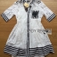 Lady Ribbon Online ขายส่งเสื้อผ้าออนไลน์ เลดี้ริบบอน LR05280716 &#x1F380 Lady Ribbon's Made &#x1F380 Lady Alessandra Sweet Minimal Striped Embellished Cotton Lace Shirt Dress เชิ้ต thumbnail 6