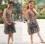 Checked Printed Apron Dress เดรสทรงเอพรอนพิมพ์ลายสก็อตสีขาว-ดำ thumbnail 5