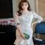 Lady Ribbon Peplum Lace Dress เดรสผ้าลูกไม้สีขาวสไตล์วินเทจ thumbnail 3