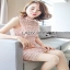 Lady Ribbon Old-Rose Guipure Lace Mini Dress thumbnail 3