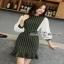 ชุดเดรสริ้วเกาหลีผ้าทอลายทางริ้วแฟชั่นขาวดำ thumbnail 5