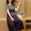 Lady Ribbon Online เสื้อผ้าออนไลน์ขายส่ง lady ribbon เสื้อผ้า LR12150816 &#x1F380 Lady Ribbon's Made &#x1F380 Lady Dani Sweet Minimal Striped Top with Black Overall เซ็ตเสื้อแขนสั้น thumbnail 2
