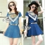 Lady Ribbon Online ขายส่งเสื้อผ้าออนไลน์ เสื้อผ้า Sevy SV01030816 &#x1F389Sevy Two Pieces Of Triangle Scarf Denim Sets Type: Blouse+Shorts(Sets) Fabric: Denim+Cotton Detail: thumbnail 1