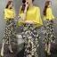 Lady Ribbon Online เสื้อผ้าแฟชั่นออนไลน์ขายส่ง เลดี้ริบบอนของแท้พร้อมส่ง sevy เสื้อผ้า SV04240716 &#x1F389Sevy Two Pieces Of Yellow Blouse With Flora Layer Skirt Sets thumbnail 1