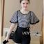 Lady Ribbon ขายส่งเสื้อผ้าออนไลน์พร้อมส่งของแท้ LR17220716 &#x1F380 Lady Ribbon's Made &#x1F380 Lady Paula Street Minimal Hearty Striped Overall Shorts Set thumbnail 3