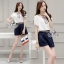 Sevy Two Pieces Of V Cut Collar Blouse With Short Belt Sets Type: Blouse+Shorts thumbnail 2