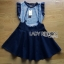 Lady Ribbon Online ขายส่งเสื้อผ้าออนไลน์ ขายส่งของแท้พร้อมส่ง Lady Ribbon LR13250716 &#x1F380 Lady Ribbon's Made &#x1F380 Lady Kylie Striped Ruffle-Sleeve Top and Overall Skirt Set thumbnail 5