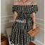 Checked Dress Lady Ribbon ขายเดรสผ้าคอต thumbnail 3