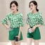 Sevy Two Pieces Of Leaves Blouse With Shorts Sets thumbnail 4