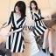 ชุด dress ลายริ้วขาวสลับดำ ทรงสวยเนื้อผ้าโพลีสเอส thumbnail 2