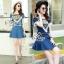 Lady Ribbon Online ขายส่งเสื้อผ้าออนไลน์ เสื้อผ้า Sevy SV01030816 &#x1F389Sevy Two Pieces Of Triangle Scarf Denim Sets Type: Blouse+Shorts(Sets) Fabric: Denim+Cotton Detail: thumbnail 2