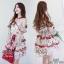 2Sister Red Flora Dress เดรสแฟชั่นเกาหลีลุคสวยหรู thumbnail 1