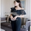 Black Lace Frill Lady Ribbon Jumpsuit จัมป์สูท thumbnail 1