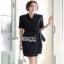 Lady Mandy Smart Minimal Drape Ribbon Black Dress ขายส่งเดรสผ้าเครป thumbnail 3