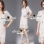 SS08010916 Seoul Secret Say's... V Ivory Lace Dress Material : เนื้อผ้าลูกไม้ปักและฉลุเป็นลายดอกไม้ thumbnail 1