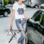 Lady Ribbon Online ขายส่ง เสื้อผ้าออนไลน์ ของแท้ ราคาถูกพร้อมส่ง เลดี้ริบบอน LR17140716 &#x1F380 Lady Ribbon's Made &#x1F380 Lady Coco Camellia Denim Embroidered T-Shirt and Skinny Jeans Set thumbnail 3
