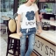 Lady Ribbon Online ขายส่ง เสื้อผ้าออนไลน์ ของแท้ ราคาถูกพร้อมส่ง เลดี้ริบบอน LR17140716 &#x1F380 Lady Ribbon's Made &#x1F380 Lady Coco Camellia Denim Embroidered T-Shirt and Skinny Jeans Set thumbnail 4