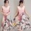 เสื้อผ้าแฟชั่นเกาหลีพร้อมส่งเดรสคอวี พิมพ์ลายผ้าออแกนซ่า thumbnail 2