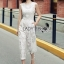 Lady Ribbon Online เสื้อผ้าออนไลน์ ขายส่งของแท้ราคาถููก LR06110716 &#x1F380 Lady Ribbon's Made &#x1F380 Lady Katy Smart Casual White Guipure Lace Jumpsuit thumbnail 3