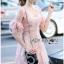 Lady Ribbon ขายส่งเสื้อผ้าออนไลน์พร้อมส่งของแท้ LR20220716 &#x1F380 Lady Ribbon's Made &#x1F380 Lady Anna Sweet Feminine Floral Pink Lace Dress เ thumbnail 3