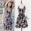 Lady Ribbon ออนไลน์ เสื้อผ้าออนไลน์ พร้อมส่งของแท้ SV05130716 &#x1F389Sevy Printed Flora Hollow Shoulder Straps Sleeveless Mini Dress thumbnail 3
