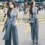 Lady Ribbon Calinda Blue Crepe Jumpsuit thumbnail 1