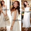 Lady Ribbon White Floral Embellish Lace Maxi แม๊กซี่ลูกไม้ตัวยาว thumbnail 1