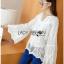 เสื้อผ้าคอตตอนทรงแขนบานสีขาว thumbnail 7