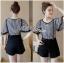 Lady Ribbon ขายส่งเสื้อผ้าออนไลน์พร้อมส่งของแท้ LR17220716 &#x1F380 Lady Ribbon's Made &#x1F380 Lady Paula Street Minimal Hearty Striped Overall Shorts Set thumbnail 1