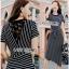Striped Lady Ribbon Dress ขายเดรสผ้ายืด thumbnail 3