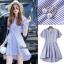 NA11290816 &#x1F389Normal Ally Present blue and white striped decorate southsea white pearl dress&#x1F389 (เดรส , งานแต่งห่วงมุก) thumbnail 8