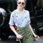 Lady Ribbon Online ขายส่งเสื้อผ้าแฟชั่นออนไลน์ เสื้อผ้า Normal Ally NA10080816 &#x1F389Normal Ally Present Pineapple print shirt striped and army tone skirt set&#x1F389 thumbnail 3