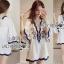 Classic Dark Blue and White Embroidered Dress เดรสปักและตกแต่งลาย thumbnail 1