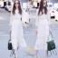 แฟชั่นลูกไม้ชุดเดรสเกาหลีสีขาว thumbnail 2