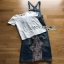 Lady Ribbon Tanya White T-Shirt Denim and Lace Overall Dress เอี้ยมยีนส์เสื้อยืด thumbnail 6