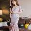 Lady Ribbon Classy Feminine Peplum Pink Lace Dress thumbnail 3