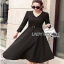 Chic Black Crepe Lady Ribbon Dress thumbnail 3
