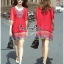 Lady Ribbon Online เสื้อผ้าออนไลน์ ขายส่ง VP01110717 Bohemian Red-Chiffon Colorful beads Embroidery Blouse thumbnail 3