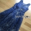 Lady ribbon Joanna Navy Blue Tulle Evening Gown thumbnail 6