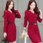 เสื้อผ้าแฟชั่นเกาหลีพร้อมส่งชุดเดรสผ้ายืดเนื้อหนาแขนยาว thumbnail 1