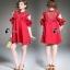 Luxury Shirt Dress - มินิเดรสสีแดงสด thumbnail 1