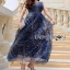 Lady ribbon Joanna Navy Blue Tulle Evening Gown thumbnail 3