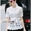 Lady Ribbon Online เสื้อผ้าออนไลน์ขายส่ง Lady Ribbon เสื้อผ้า LR10180816 &#x1F380 Lady Ribbon's Made &#x1F380 Lady Elena Elegant Chic Button-Down White Lace Blouse with Ribbon เสื้อผ้าลูกไม้สีขาว thumbnail 2
