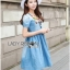 Lady Ribbon Online ขายส่งเสื้อผ้าออนไลน์ เลดี้ริบบอน LR15280716 &#x1F380 Lady Ribbon's Made &#x1F380 Lady Dana Feminine Colourful Embellished Blue Denim Dress thumbnail 3