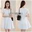 Lady Ribbon Online ขายส่งเสื้อผ้าออนไลน์เลดี้ริบบอน LR13010816 &#x1F380 Lady Ribbon's Made &#x1F380 Lady Diana Feminine Pure White Lace and Polyester Dress เดรสผ้าโพลี thumbnail 1