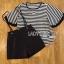 Lady Ribbon ขายส่งเสื้อผ้าออนไลน์พร้อมส่งของแท้ LR17220716 &#x1F380 Lady Ribbon's Made &#x1F380 Lady Paula Street Minimal Hearty Striped Overall Shorts Set thumbnail 6