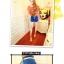 กางเกงแฟชั่น ขาสั้น สีน้ำเงิน มาพร้อมเข็มขัดตามรูป Size S thumbnail 2