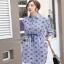 Lady Ribbon Jackie Blue Cotton Shirt Dress thumbnail 3